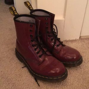 Maroon patent leather Dr. Martens